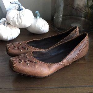 FRYE Leather Harness Flats 8.5